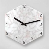 리플렉스 6각 크랙마블 로즈쿼츠 무소음 아크릴 벽시계(대) OLD13