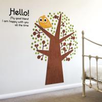 [우드스티커] 마이프랜드 (컬러완제품) 나무 부엉이 아이방 어린이집
