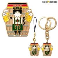 유럽 독일 맥주냥-뺏지 펜던트 키링(열쇠고리)