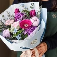 퍼플블루 꽃다발 생화 스탠다드 중형 [전국택배]