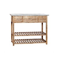 [Hubsch]Table w/4 drawers & zinc top,wood,nature 880003 테이블