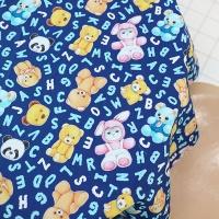패턴시리즈 - 루미와 곰돌이인형 (Blue, 110X90cm)