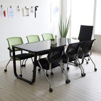 스틸뷰 1800 테이블+의자세트 각진프레임