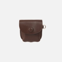 Button Shoulder AirPods Leather Case Chocolate Bro