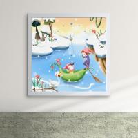 iw066-아이들의눈오는날의하루액자벽시계_디자인액자시계