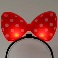 LED점등 리본머리띠 (레드)