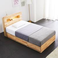 [노하우] 리피 LED 고무나무원목 3단 수납 침대 SS
