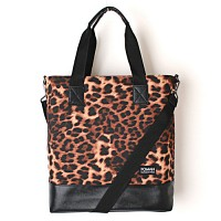 LEATHER TOTE BAG - LEOPARD--