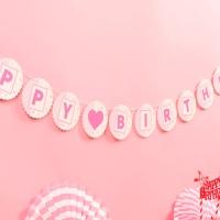 페이퍼 생일 플라워가랜드(핑크)