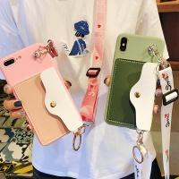 갤럭시 파스텔 카드 지갑 스트랩 젤리 핸드폰 케이스