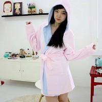 핑크 배색후드 샤워가운