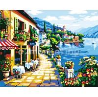 DIY 명화그리기 - DIY 해안가테라스 (G239) 40x50 그림 (유화/그림그리기/직접그리기/아크릴/취미/색칠)