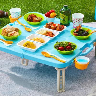 컬러 피크닉 휴대용 접이식 캠핑 테이블 세트