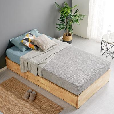 [노하우] 로뎅 고무나무원목 평상형 4서랍 침대 SS