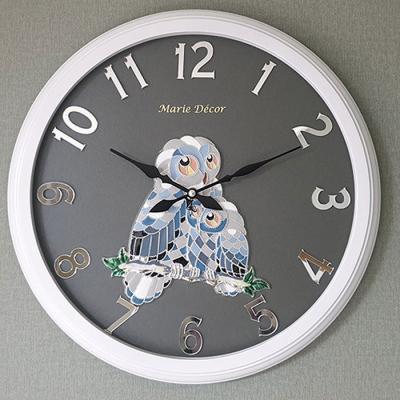 예쁜 인테리어 Wall Clock 미러넘버 부엉이 실버
