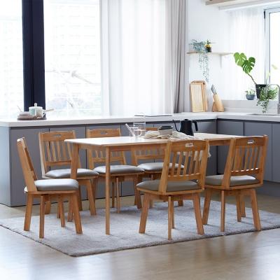 [리비니아]캔버 노블회전의자 6인 원목식탁세트
