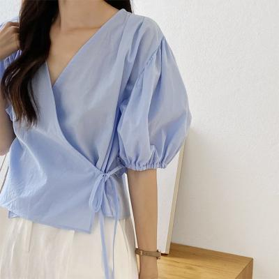 Puff Cotton Wrap Blouse
