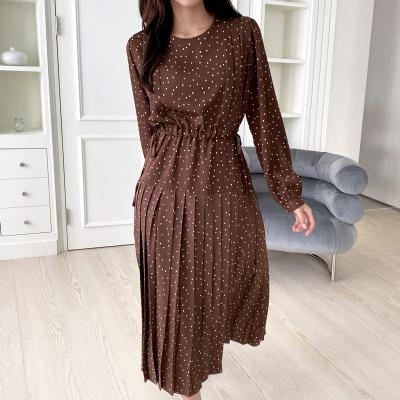 Dot Pleated Long Dress