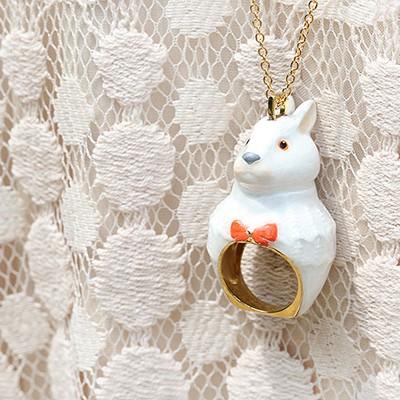 [러쉬룸] [직수입/Mary Lou] animal ring necklace ( 여우, 레이디 토끼, 젠틀맨 토끼)