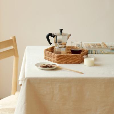 라탄 헥사곤 카페 인테리어 주방 트레이 쟁반 (소)