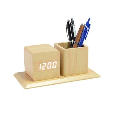 펜홀더 LED원목형 탁상시계/펜꽂이/건전지/USB겸용