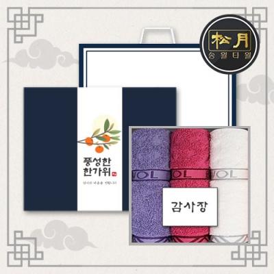 송월 추석선물세트 에스닉 세면타월 3매세트