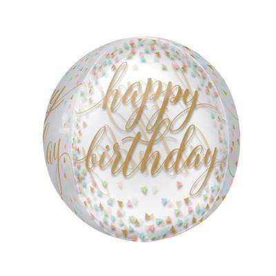 생일축하 파스텔 컨페티 원형 은박풍선 기념일풍선