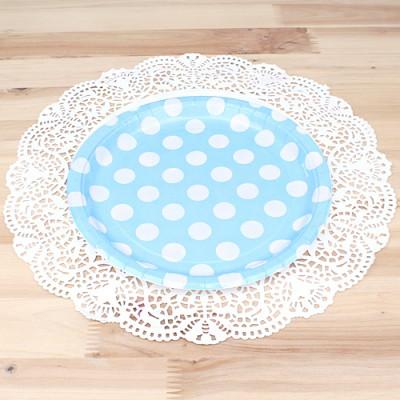 파티용 도트 접시 18cm-블루(6개입)