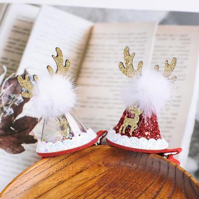 밴디 크리스마스 루돌프 고깔 머리핀 헤어핀 집게핀