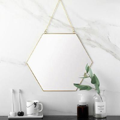 육각 골드 스트랩 벽거울 (소형)