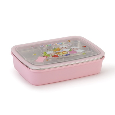 해피램 유아 4구버튼 스텐 식판(핑크)