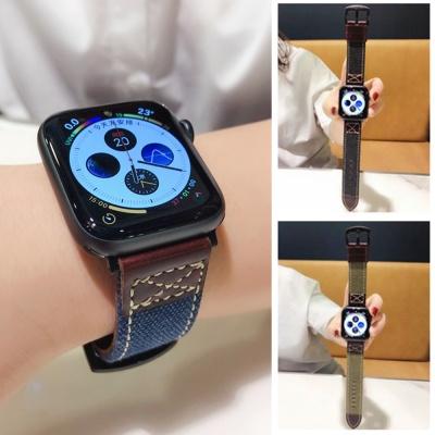 애플워치 6 5 4 3 2 캔버스 가죽 밴드 스트랩 시계줄