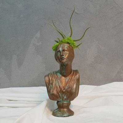 청동부식 페인팅 석고상화분 이오난사+모스+리본 포함