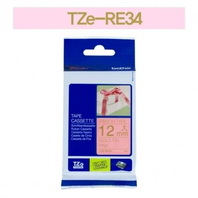 [부라더정품]리본테이프 비접착 TZe-RE34(12mm x 4M) (분홍바탕/금색글씨)