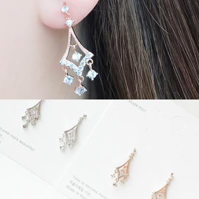 [애슬릿]제니스 샹들리에 큐빅 드롭 귀걸이