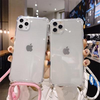 아이폰11/넥스트랩 목걸이 크로스 줄 투명 젤리케이스