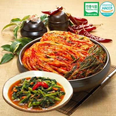 [명가김치] 전통식품인증 포기김치 3kg+열무김치 500g