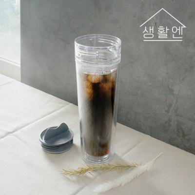 [생활엔] 하이캡 이중 커피머그 텀블러 350ml