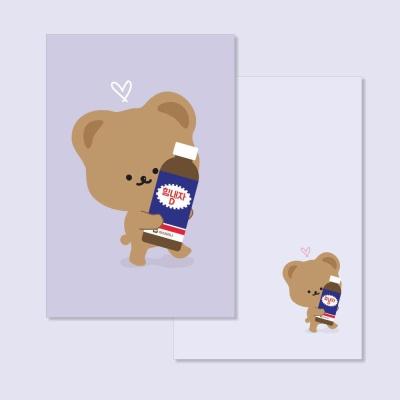 힘내자 곰돌이 응원 양면 엽서