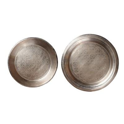 [Hubsch]Round tray w/striking, antique silver 원형트레이