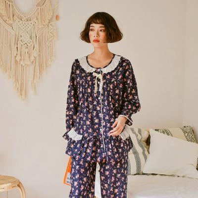 [쿠비카]순면 긴소매라운드 투피스 여성잠옷 W405
