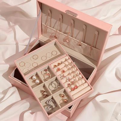 악세사리 귀걸이 2단 보관함 핑크 디어박스