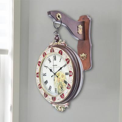카파 무소음 W60 브라운 로마장식 앤틱 양면벽시계