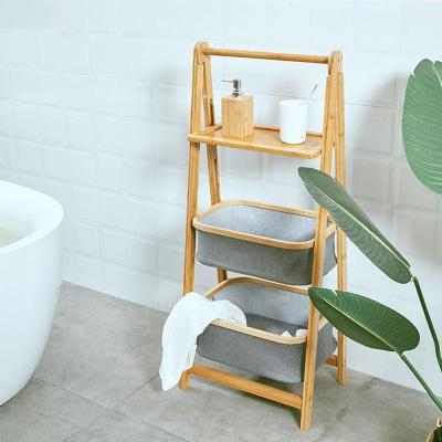 접이식 대나무 원목 세탁 빨래바구니 수납함