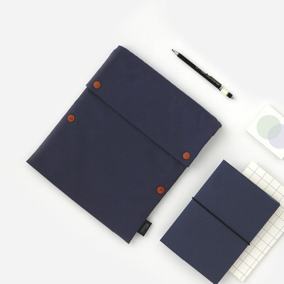 Two button book pouch_Navy