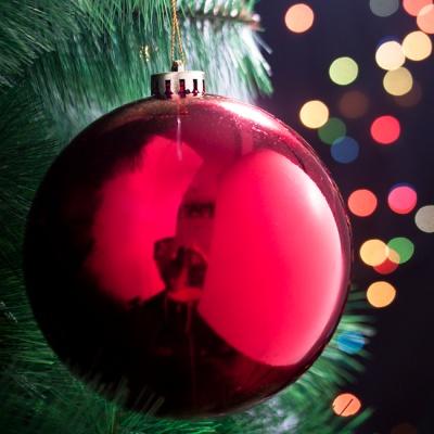 지름 14cm 크리스마스 레드 유광볼 트리장식