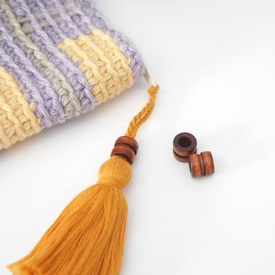 원통형 나무 장식 (5개) - 팔찌 액세서리 재료