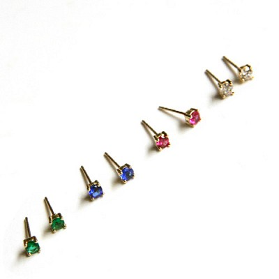 10k gold color cubic earring (세트)