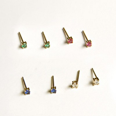 10k gold small color cubic earring (세트)