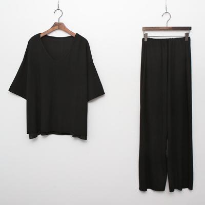 [Set] Easy V-Neck Top + Wide Pants